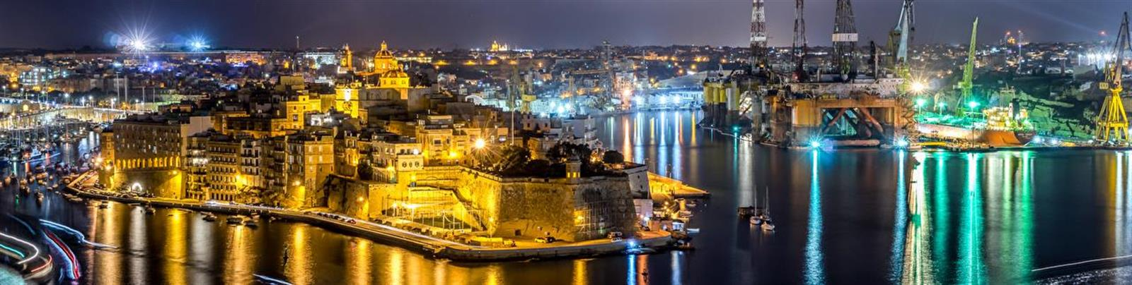 The Grand Harbour of Valletta by Night